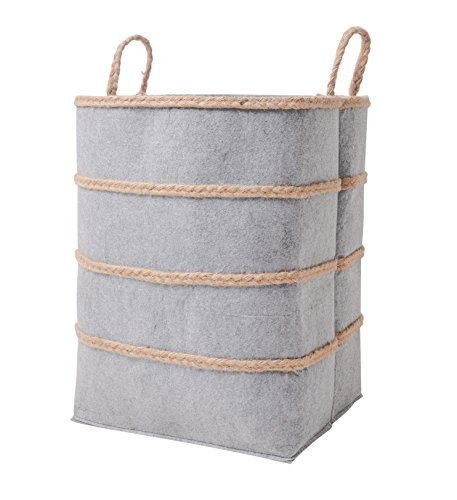 Storage Basket Laundry Hamper Bins, Large Collapsible Felt Linen Organic Organizer 19 inch with Handles, Gift Idea for Towel, Laundry, Blanket, Toy