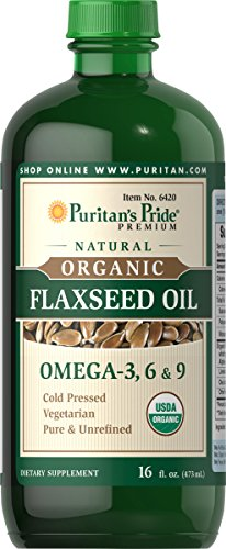 Puritan's Pride Organic Flaxseed Oil, Cold-Pressed, Source of Vegetarian Omega 3-6-9, 16 Fluid Ounce, Pack of 1