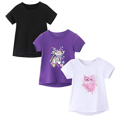 IRELIA 3 Pack Girls Crew Neck Tee Short Sleeve Shirts Regular BlaPu509Wh510 S