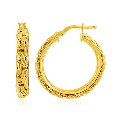 - Mia Diamonds 14k Yellow Gold Byzantine Hoop Post Earrings