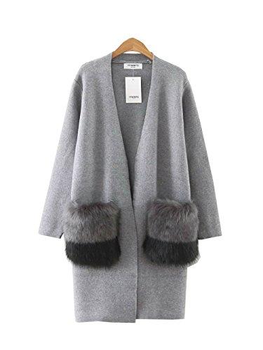 COCO clothing Donna Casuale Maniche Lunghe Maglieria Cardigan Autunno Giacca Invernale Maglione Cappotto Moda ed Slim Trench Outwear Grigio
