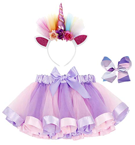 Jasmine Girls 3 Pieces Layered Rainbow Tutu Skirt,Unicorn Headband & Hair Bow for Dress up Costume (2 Piece Headband)