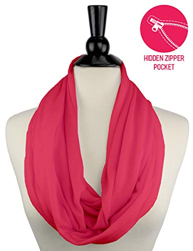 Solid Color Infinity Scarf for Womens Fashion Scarf Zipper Pocket - Pop Fashion (Coral)