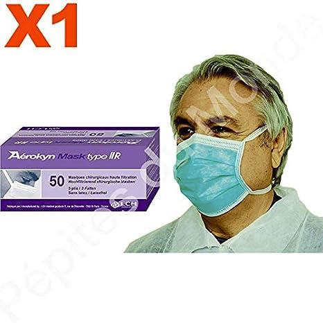 Máscara médico alta filtración 3 pliegues verde Liens ...