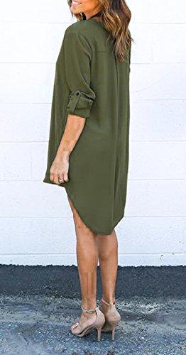 Corta Giorno Scollo Estivi Asimmetrico Giovane Eleganti Verde Vestitini Casual Donne Chiffon V Camicia Sciolto Casuale Solido Lunga Vestito Da Battercake Forti Taglie Donna Abito Manica aBIOnaq0
