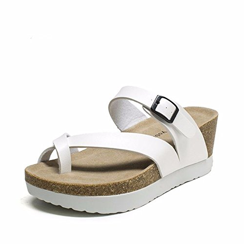 55 Estate Shoes 5 CN40 No Fondo Ciabattine UK6 Spesso Classica Lady Sandali Discesa con US8 EU39 Bianco 5 dCqwEw51
