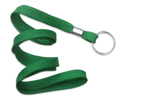 "Green Lanyard, flat braid, non-breakaway, split ring, 3/8"" wide (100pk)"