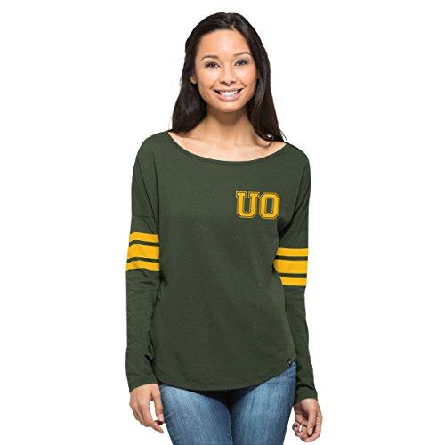 '47 NCAA Oregon Ducks Women's Ultra Courtside Long Sleeve Tee, Large, Varsity (University Womens Cap Sleeve T-shirt)