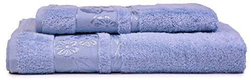 (HYGGE [2-Pack] Turkish Luxury Hotel & SPA Bamboo Towel Set with Floral Jacquard, Genuine Bamboo & Cotton for Maximum Softness; 1 Bath Towels (27