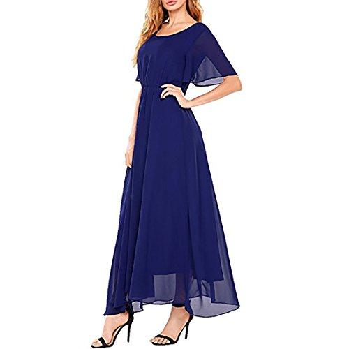 Bodenlangen Abendkleider Saphir Damen Kleid Maxi Tüll Chiffon Rüschen Elegant Kurzarm