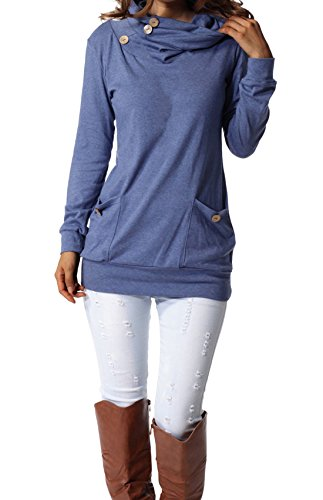 Long Sleeve Cowl Neck Top - 2