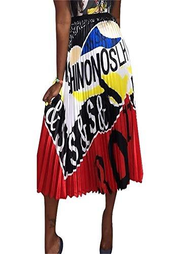 Women's Sexy Letter Print High Waisted A Line Street Skirt Skater Pleated Full Midi Skirt