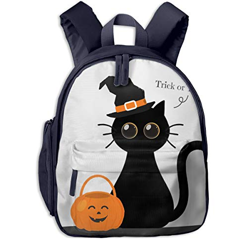 Cute Halloween Cat Double Zipper Waterproof Children Schoolbag With Front Pockets For Youth Boys Girl