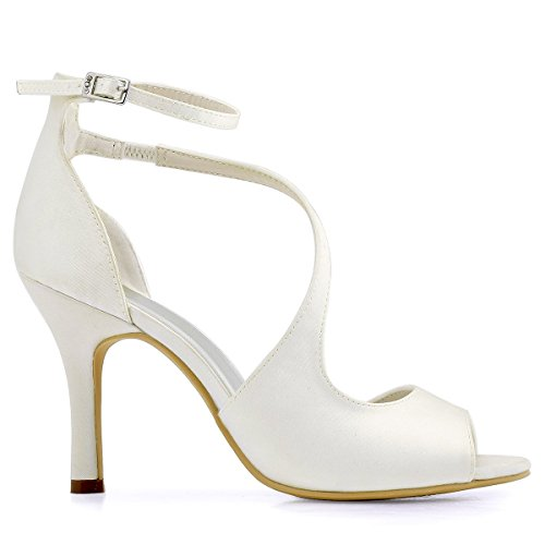 ElegantPark HP1505 Zapatos de tacón Punta abierta Rhinestones raso fiesta zapatos de novia Mujer Satin Marfil