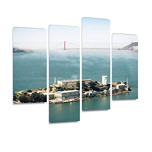 YKing1 Alcatraz Island with Golden Gate Bridge on san Francisco Wall Art Painting Pictures Print On Canvas Stretched & Framed Artworks Modern Hanging Posters Home Decor 4PANEL]()