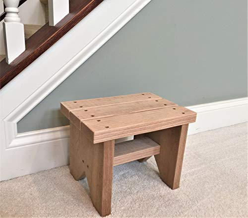 Classic Amish Reclaimed Wood Stool. Natural, Rustic, Solid. Versatile Home Décor Piece. Handmade in USA. Step/Sitting/Footstool. (Wood Furniture Discount Reclaimed)