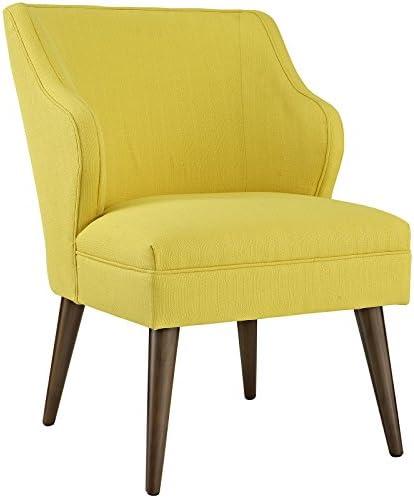 WOYBR Woven Polyester Fabric, Foam, Wood Legs Rockwell Chair, Espresso