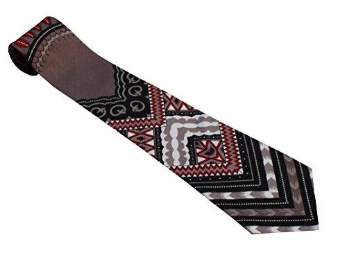 RaanPahMuang Branded Handmade Bold African Dashiki Printed Cotton Necktie Tie, Arrow - Dark Gray by RaanPahMuang