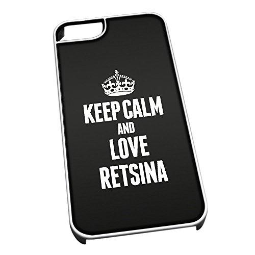 Bianco cover per iPhone 5/5S 1450nero Keep Calm and Love Retsina