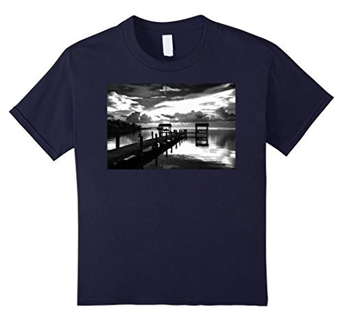 Kids Black White Photo Docks Waterfront Graphic T-Shirt 12 Navy (Waterfront Docks)