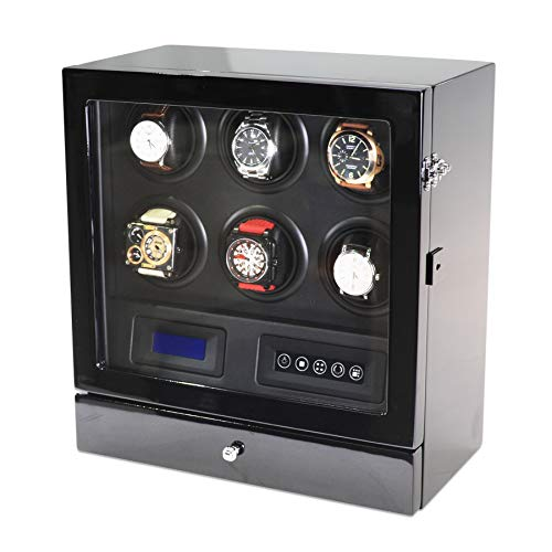 - Watch Winder for 6 Watches with 2 Watches Storage Drawer, LED Backlight, LCD Display and Remote Control (Black + Black)
