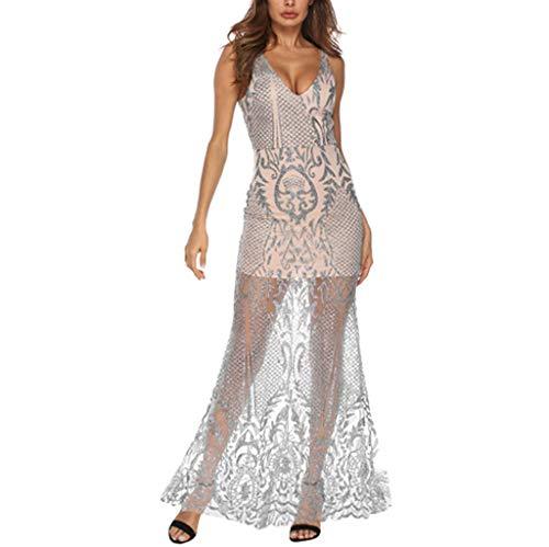 Keliay Bargain Women Sleeveless Vest Sexy V Neck Perspective Everying Party Sheath Long Dress