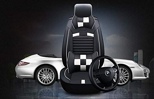 INOBXR Car Seat Cover Black and White for Leather Seats Short People Drivers, for Auto Supplies Office Chair with PU Leather 5 Seats Vehicle Suitable: Amazon.co.uk: Kitchen & Home
