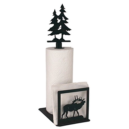Iron Elk Paper Towel/Napkin Holder with Double Pine Tree Topper