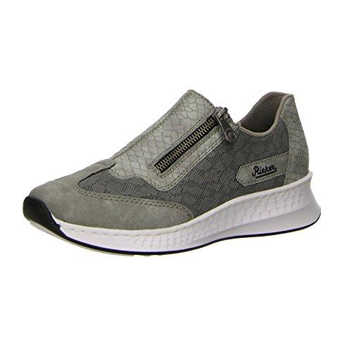 Rieker sachsen Damen N5653 Sneaker Grau Cement Dust liv stuck sachsen Rieker  158e58