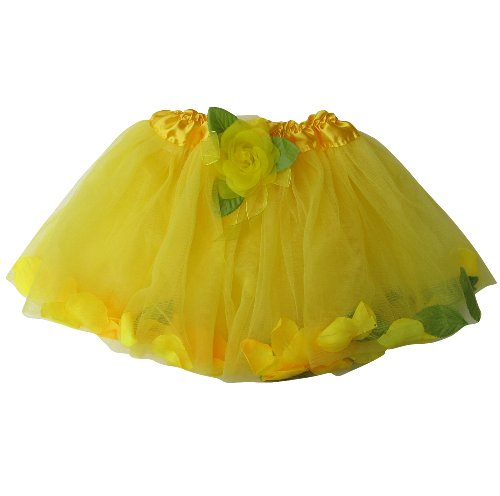 [Flower Petal Girls Dance Dress-Up Princess Fairy Costume Dance Tutu (Yellow)] (Child Flower Fairy Costume)