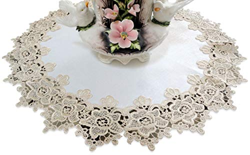 Galleria di Giovanni Large Doily 23'' Rose Lace Soft Gold & White Ivory Vintage Design Table Topper Dresser Scarf by Galleria di Giovanni