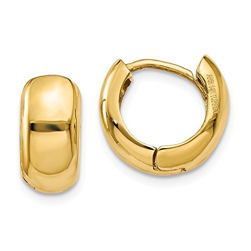 14k Yellow Gold Small 0.5inch Hinged 0.3IN Hoop Huggie Style Earrings (0.4IN x 0.4IN) by Jewelry Pot