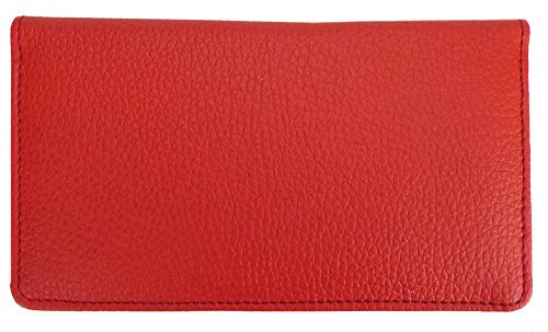 Red Textured Leather Checkbook Cover