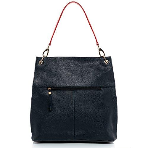 BACCINI Schultertasche LUISA - Umhängetasche - Damentasche - echt Leder navyblau-rot Navyblau-rot RUl5OnPkN