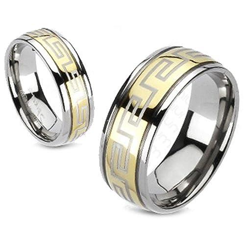 Greek Key Gold Tone Titanium Engagement Ring 6MM & 8MM