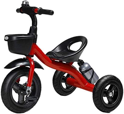 WLD Niños 'S Vehículo de entrenamiento Niños' S Triciclo Cochecito de bebé Equilibrio Bicicleta Triciclo Luz con campana Juguetes de paseo Excursión Juguete de pasajero Bebé Regalo de cumpleaños,rojo