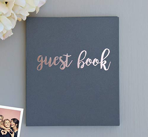Rose Gold & Grey Guest Book for Polaroid Pictures | 130 Pgs (65 Sheets) 8.5x7 | Wedding Guest Book Photo Guest Book Instax Guest Book Anniversary Guest Book Rose Gold Wedding Decorations (Grey)