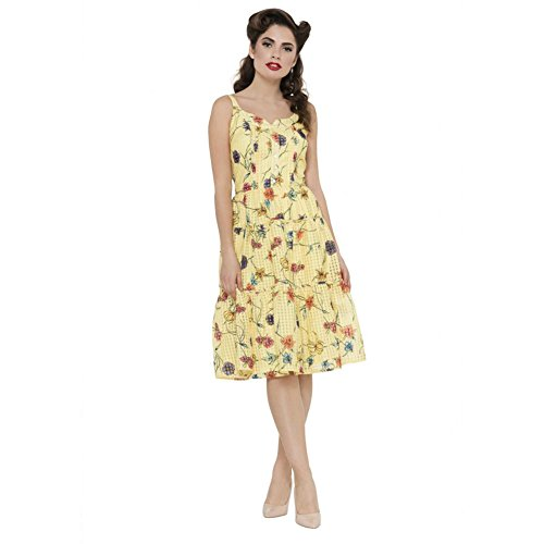 Womens-Voodoo-Vixen-Sylvia-Floral-And-Checked-Sundress-Yellow