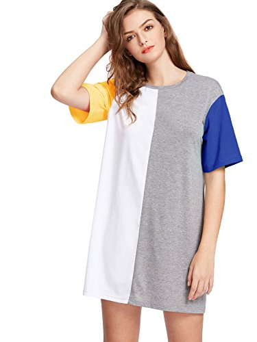 ROMWE Women's Color Block Cut And Sew Round Neck Tee Shirt Short Dress Multicolored L
