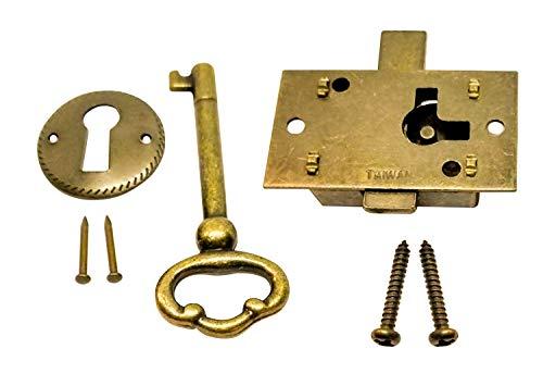 (Noa Store L-1B Brass Plated Steel Flush Mount Cabinet Door Lock & Skeleton Key)