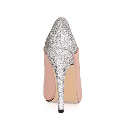 Toner women shoes high shoes Orange banquet women new pink fall tip Click light heel fish large fine Korean port 1wSHzFznqT