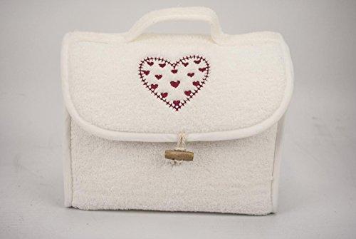 Manifattura Toscana Gift IDEA Set Sponge Hearts - Towels There's a Choice Clutch Bag - Bathroom Pochette, Red