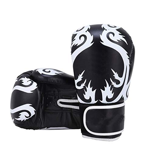 Training Gloves Professional Boxing Gloves Dragon Pattern PU Anti-Skin Material Multi-Color Tear-Resistant Liner Widened Thick Design Durable Breathable Comfort Gift (Color : Black, Size : 10oz)