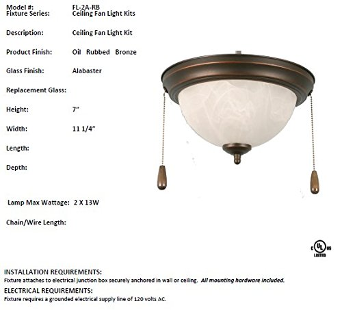 HOMEnhancements- 11'' Alabaster Dome Fan Light Kit- Rubbed Bronze Finish- Alabaster Glass- 7''H x 11.25''W x 11.25''D- 2x13W Max