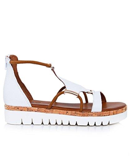Inuovo Mujeres sandalias de Gladiador de cuero Blanco Blanco