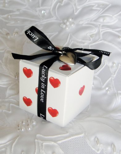 Lucky in Love Dice Favor Boxes with Imprinted Ribbon and Heart Charm (Set of 20)