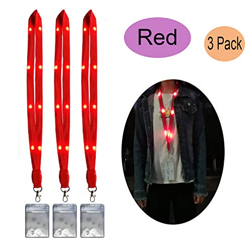 LED Lanyards Light Up Necklace Flashing Glow in The Dark Neck Strap String Lights Name Tag Key Chain ID Badge Holders for Kids Adults Keys Keychains Cell Phones Cameras (Red) (Strap Lanyard Neck Flashing)