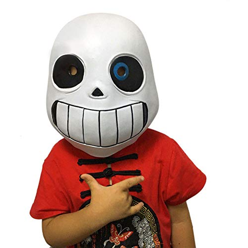 Molagogo Deluxe Latex Game Undertale Sans Full Head Child Mask Cosplay Costume Helmet Party Fancy Ball Halloween Christmas Props (for Child, Blue Eye)