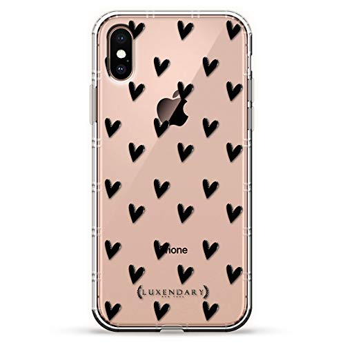 BLACK CUTE HEARTS PATTERN   Luxendary Air Series Clear Silicone Case with 3D printed design and Air-Pocket Cushion Bumper for iPhone Xs Max (new 2018/2019 model with 6.5