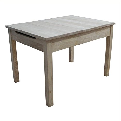 International Concepts Unfinished Table with Lift Up Top for Storage - Butcher Block Table Chairs